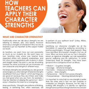 How Teachers can Apply their Character Strengths
